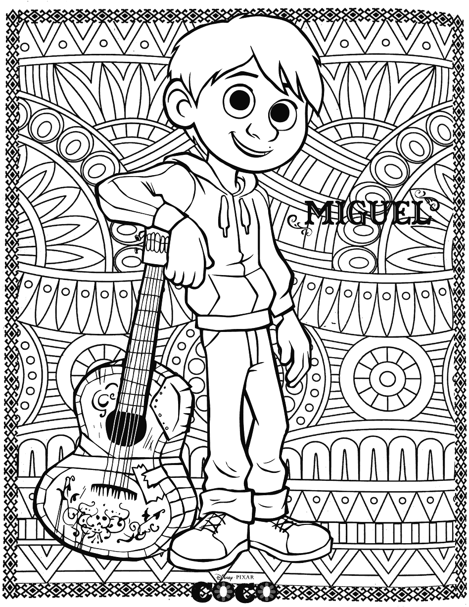 Coco Disney Coloring Pages for Adults