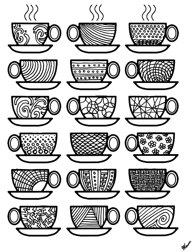 Coffee Cups Coloring Page