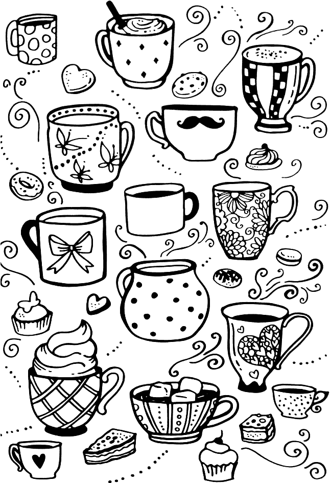 Coffee Mugs Coloring Pages