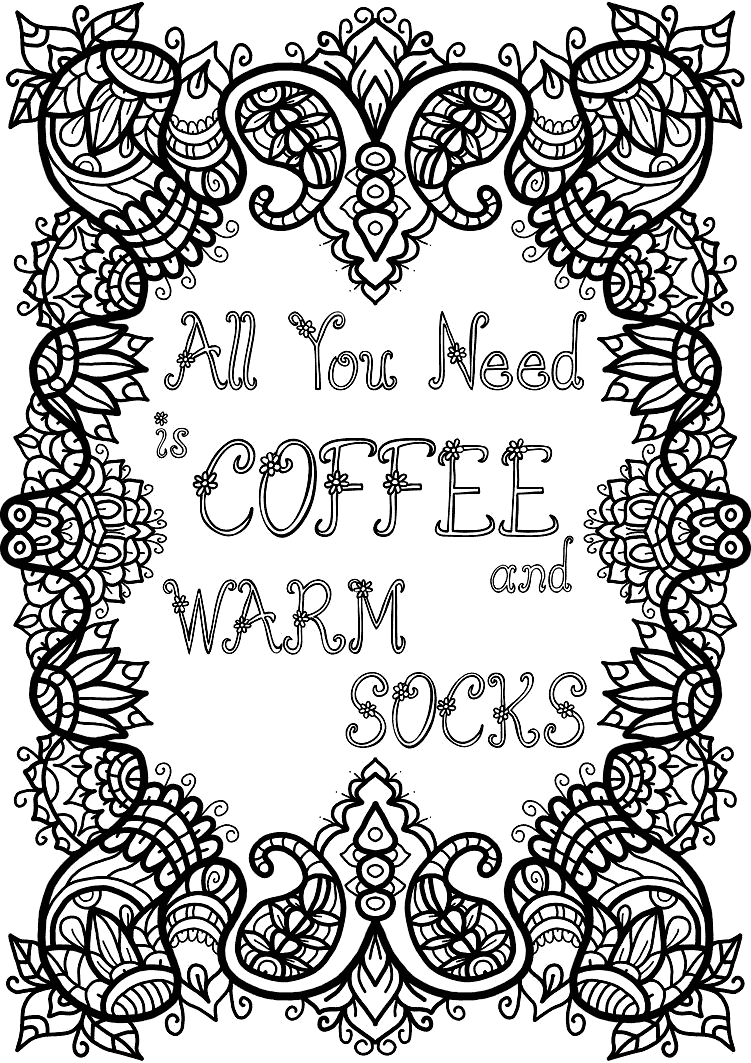 Coffee and Warm Socks Coloring Page