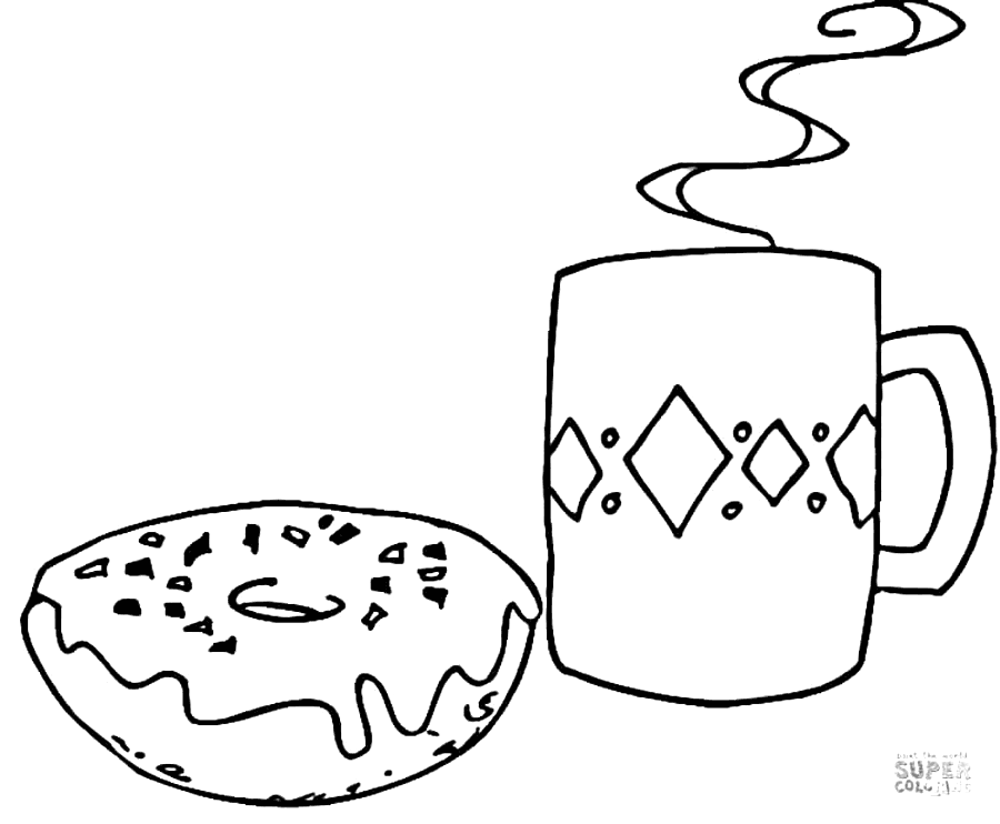 Coffee and a Donut Coloring Page
