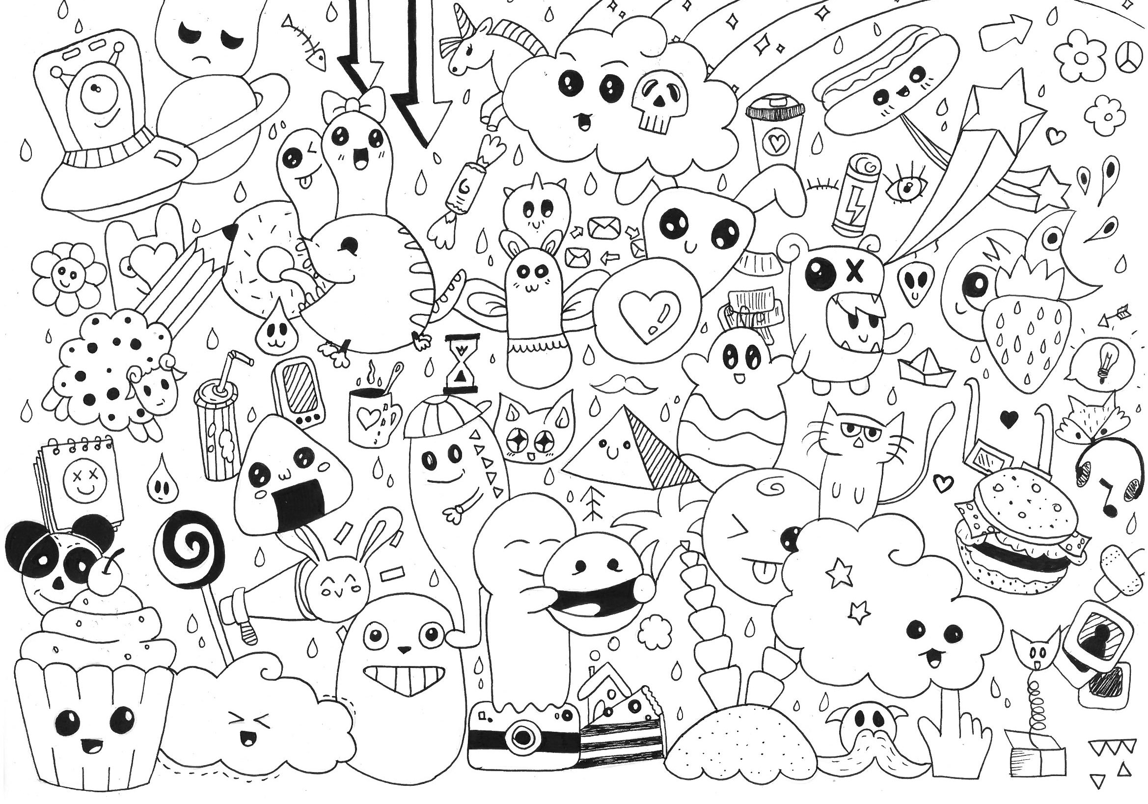 Collage Kawaii Coloring Pages