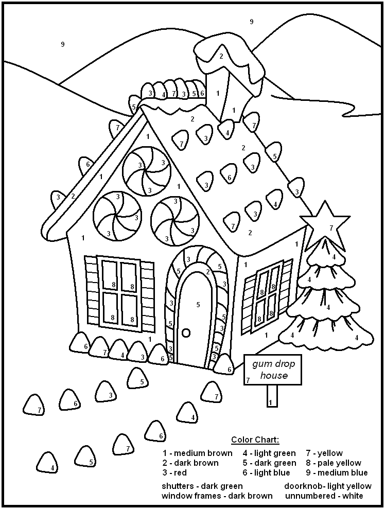 Color By Numbers - Gingerbread House