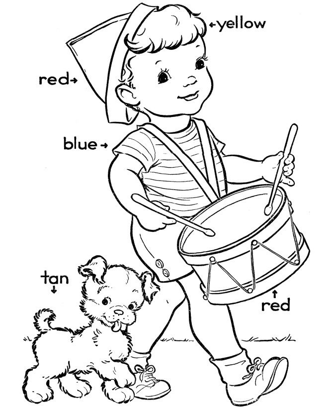 Color Coded Kindergarten Coloring Pages