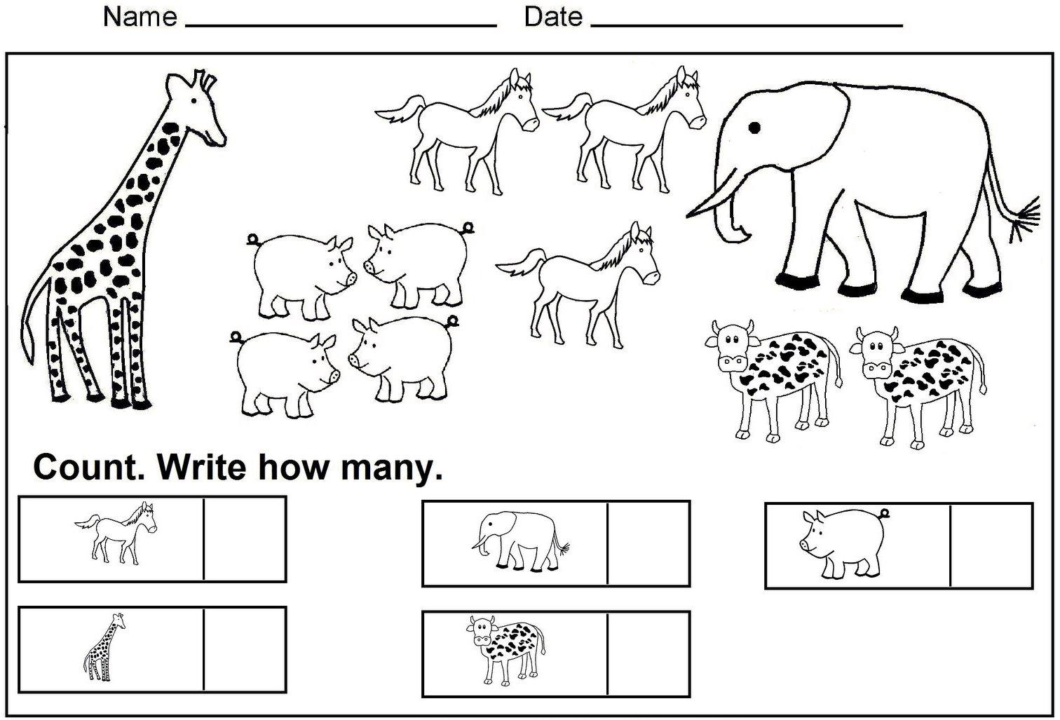 Color and Count Kindergarten Worksheet