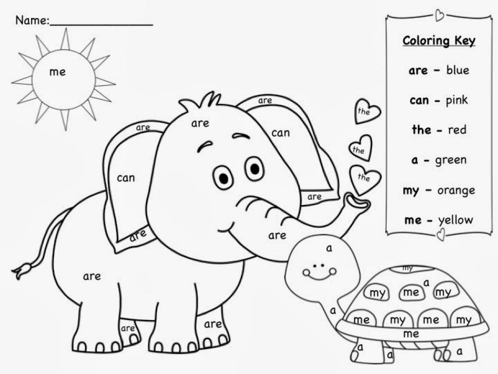 Color by Sight Words Kindergarten Coloring Worksheet