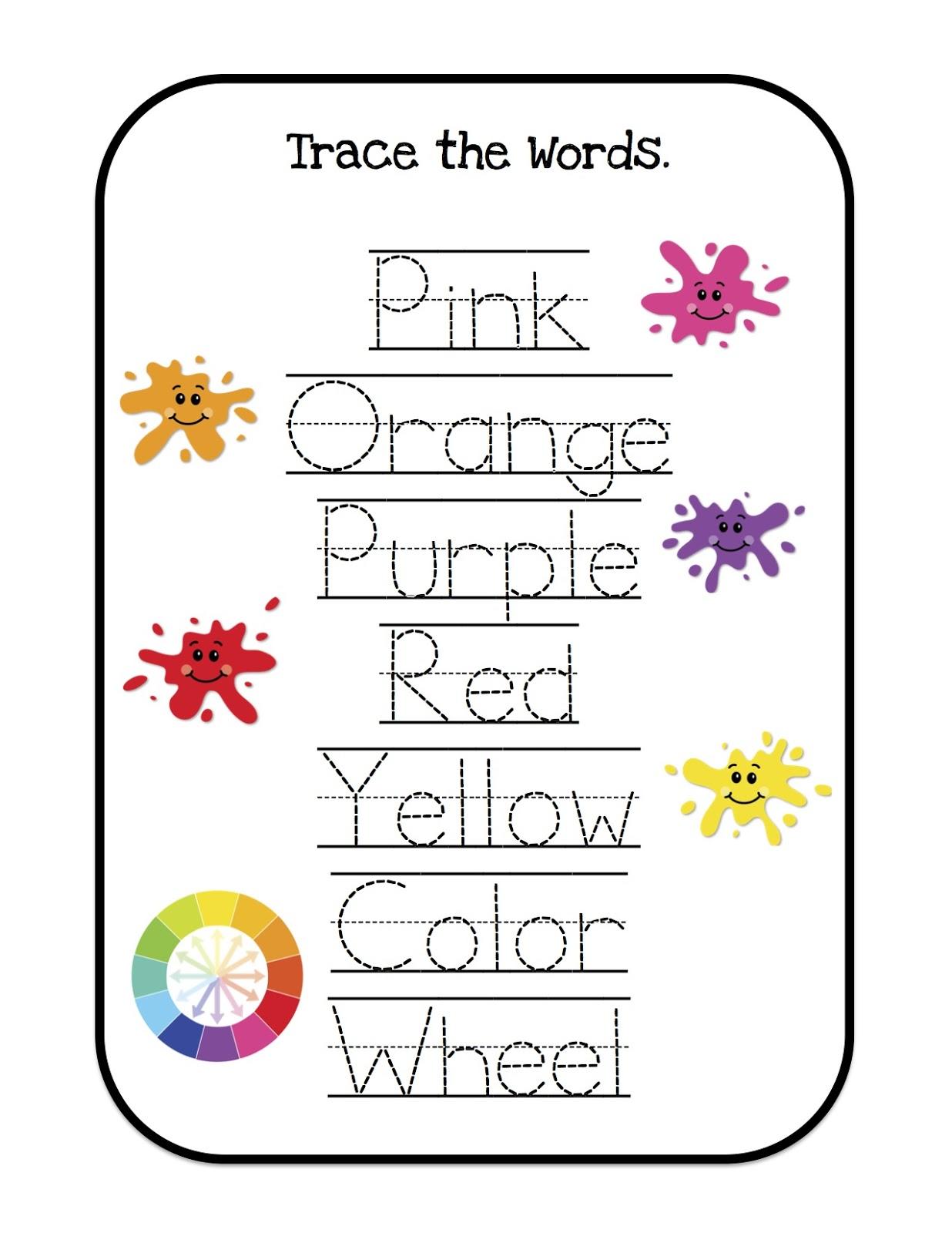 Colors Word Trace Kindergarten Worksheet
