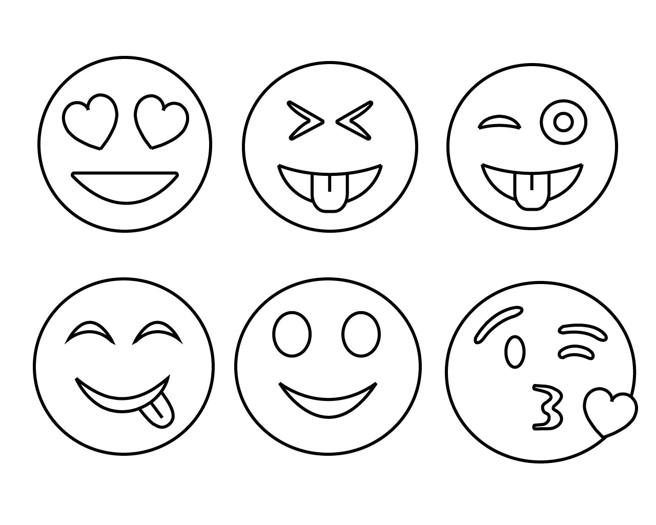 Common Emojis Coloring Page