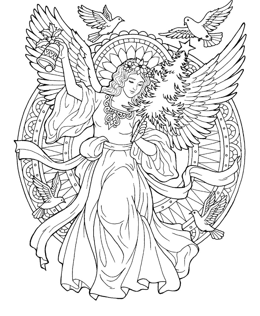 Complex Angel Coloring Page for Adults