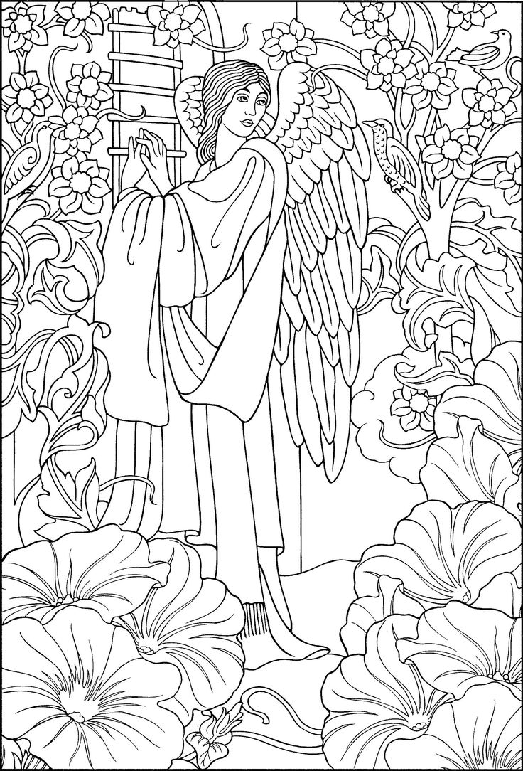 Complex Angel Coloring Pages for Adults