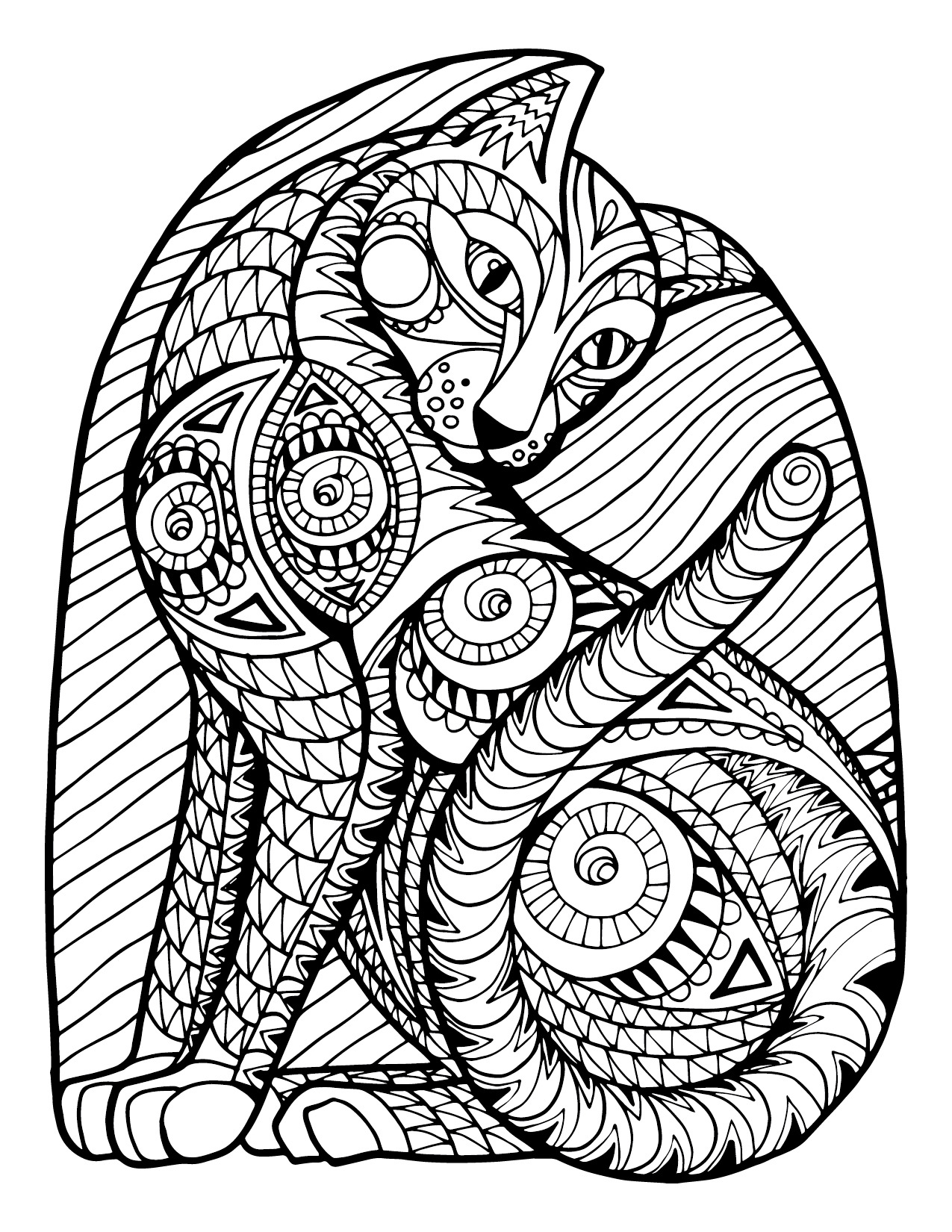 Complex Cat Pattern Adult Coloring Page