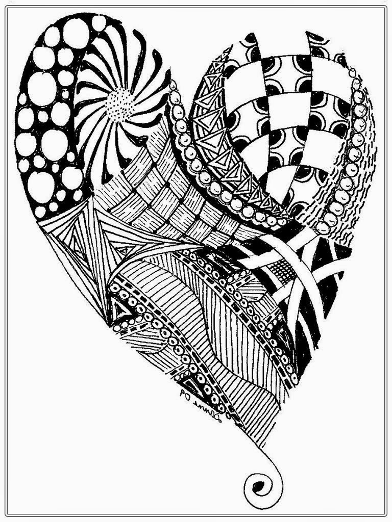 Complex Heart Coloring Page for Adults