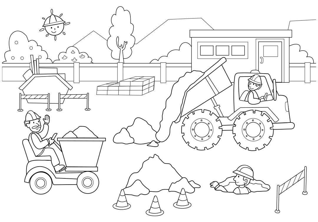 Construction Workers Coloring Page for Kindergarten