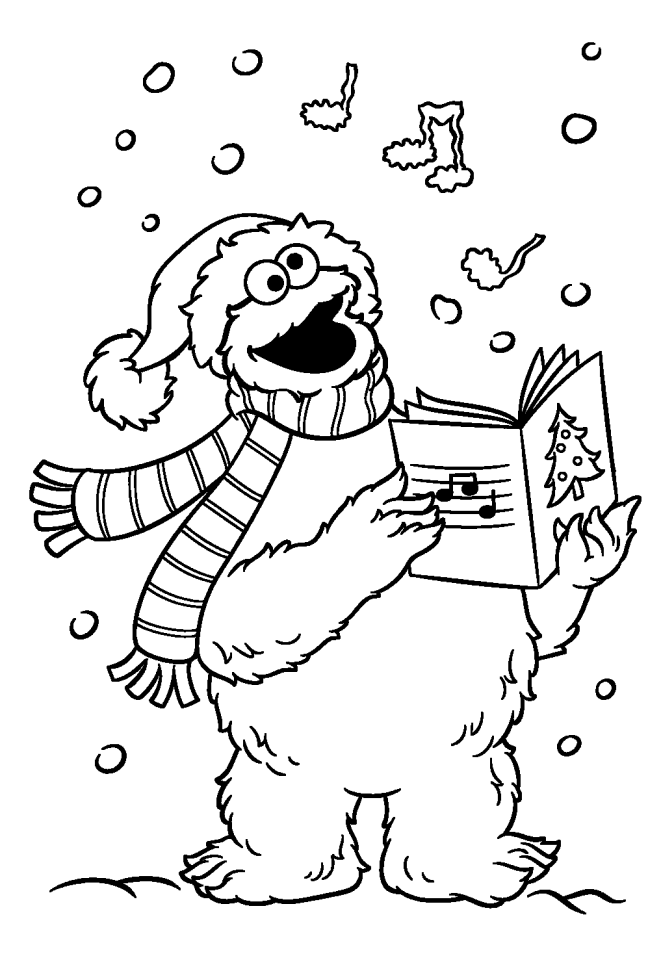 Cookie Monster Christmas Caroling Coloring Page