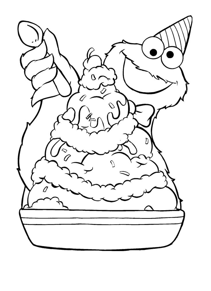 Cookie Monster Eating Ice Cream Coloring Page