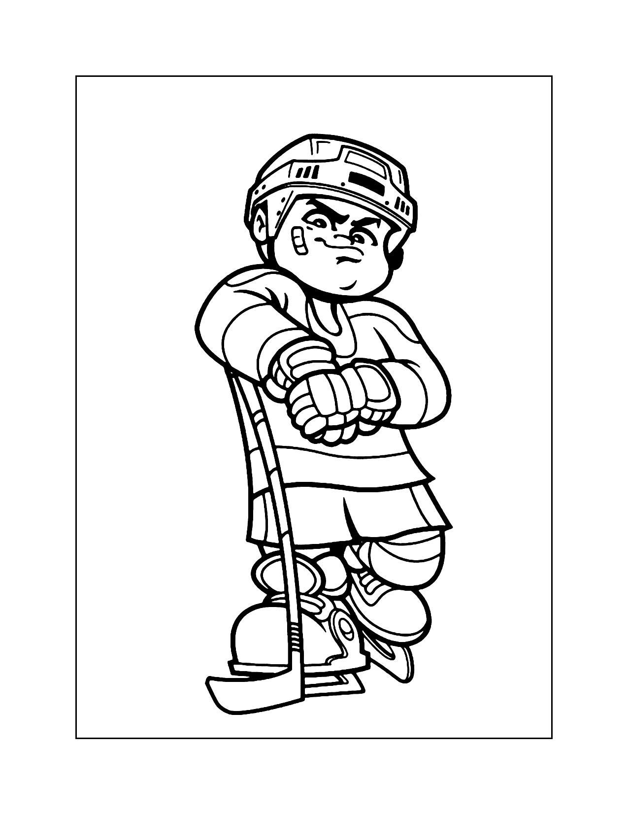 Cool Cartoon Hockey Kid Coloring Page