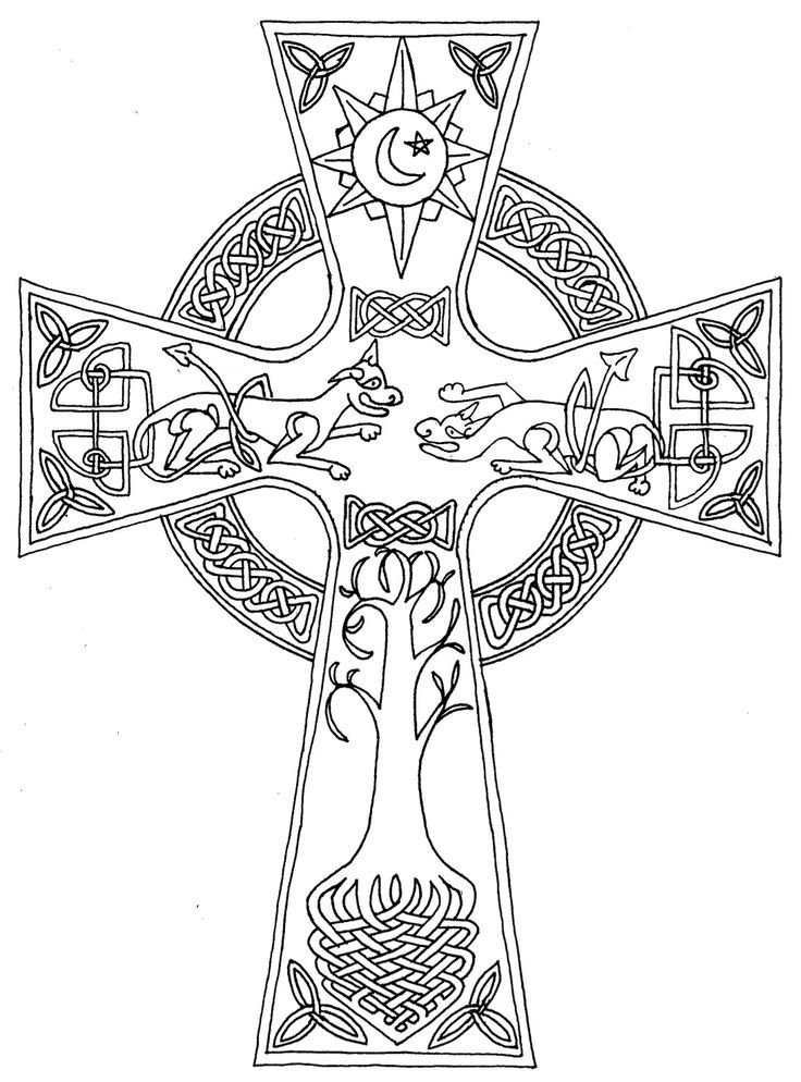 Cool Celtic Cross Coloring Page