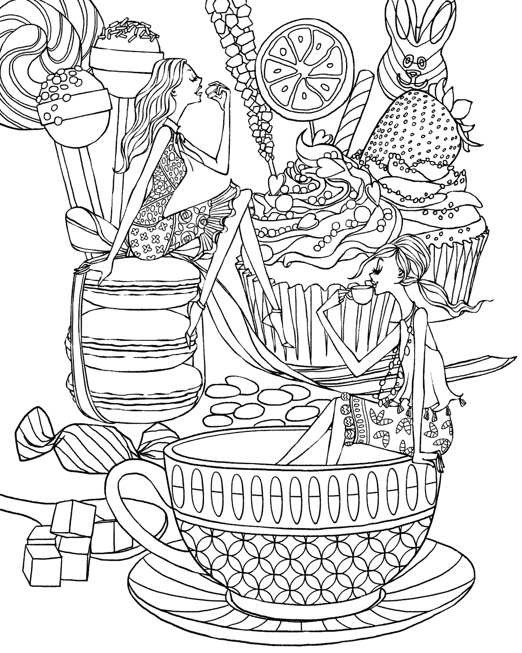 Cool Coffee and Desert Coloring Page