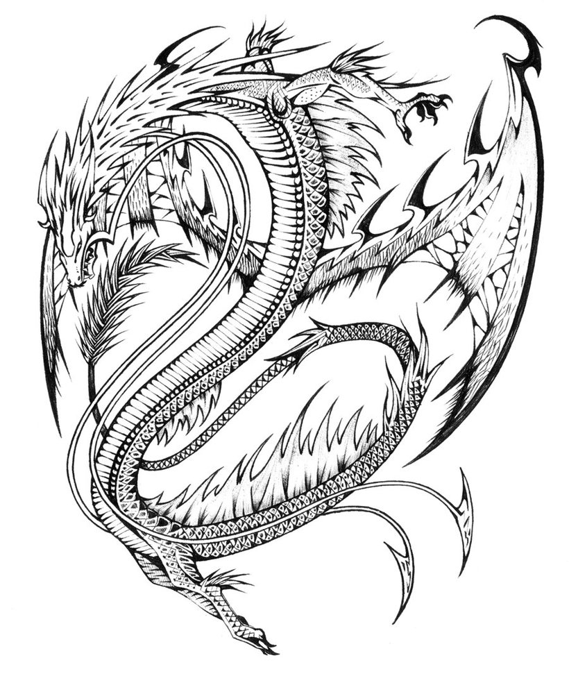 Cool Dragon Art Coloring Page