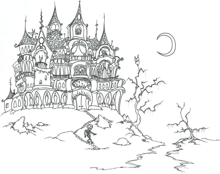 Cool Gothic Mansion Coloring Page