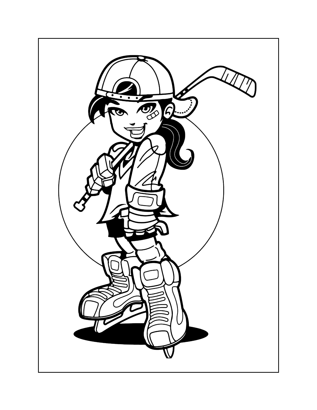 Cool Hockey Girl Coloring Page