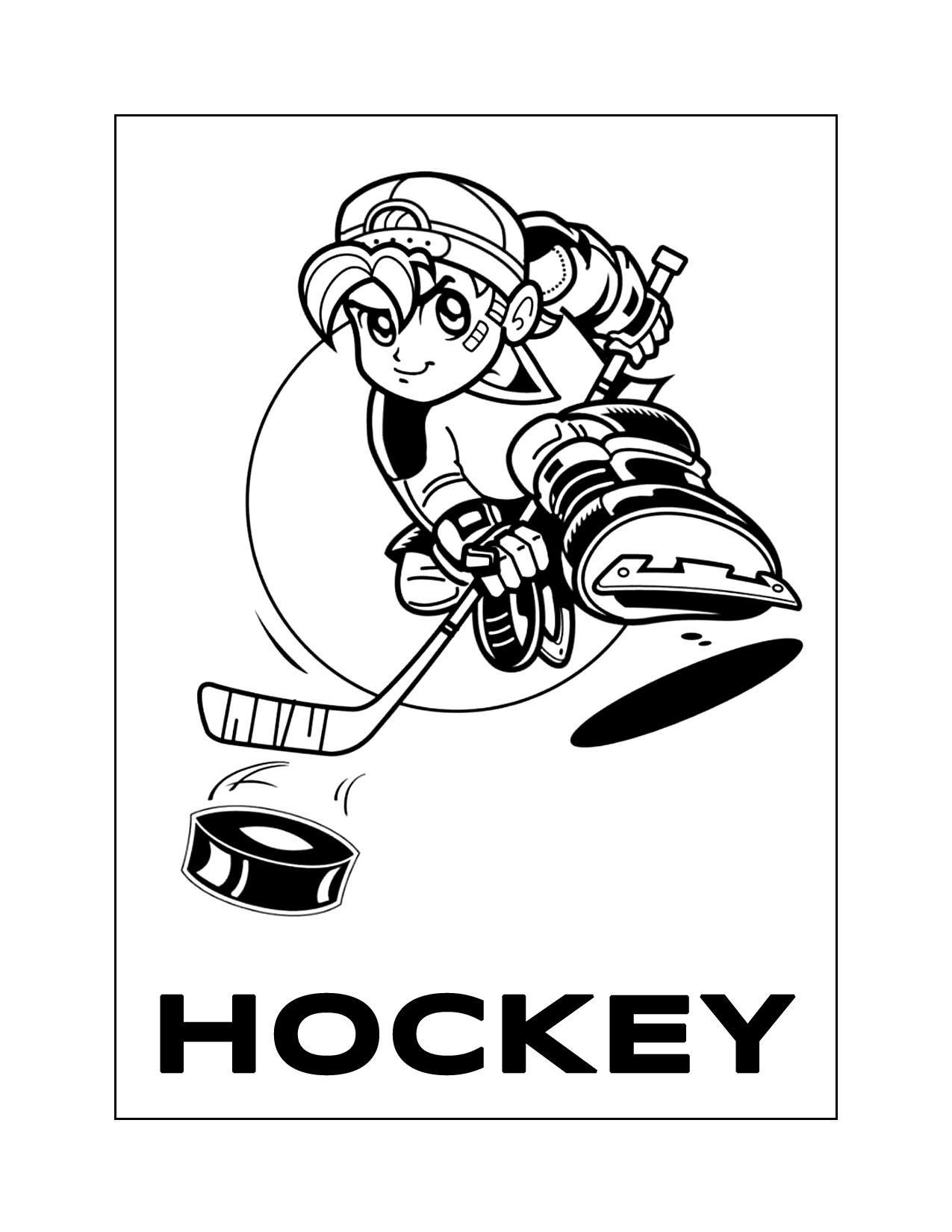 Cool Hockey Kid Coloring Page