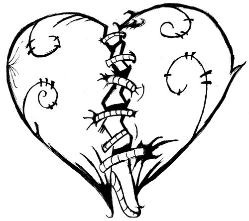 Cool Patched Heart Coloring Page