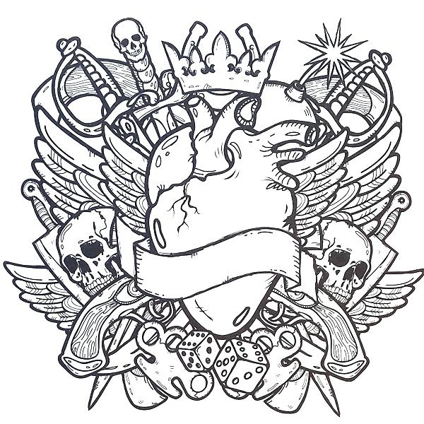 Cool Skulls Tattoo Coloring Page
