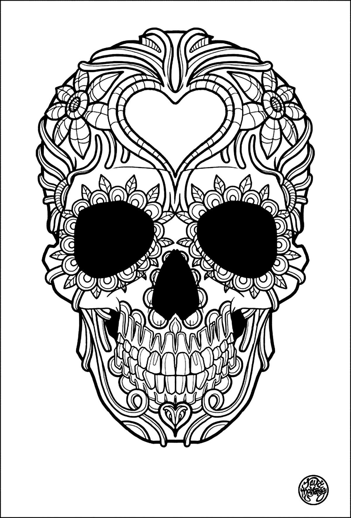 Cool Sugar Skull Coloring Page