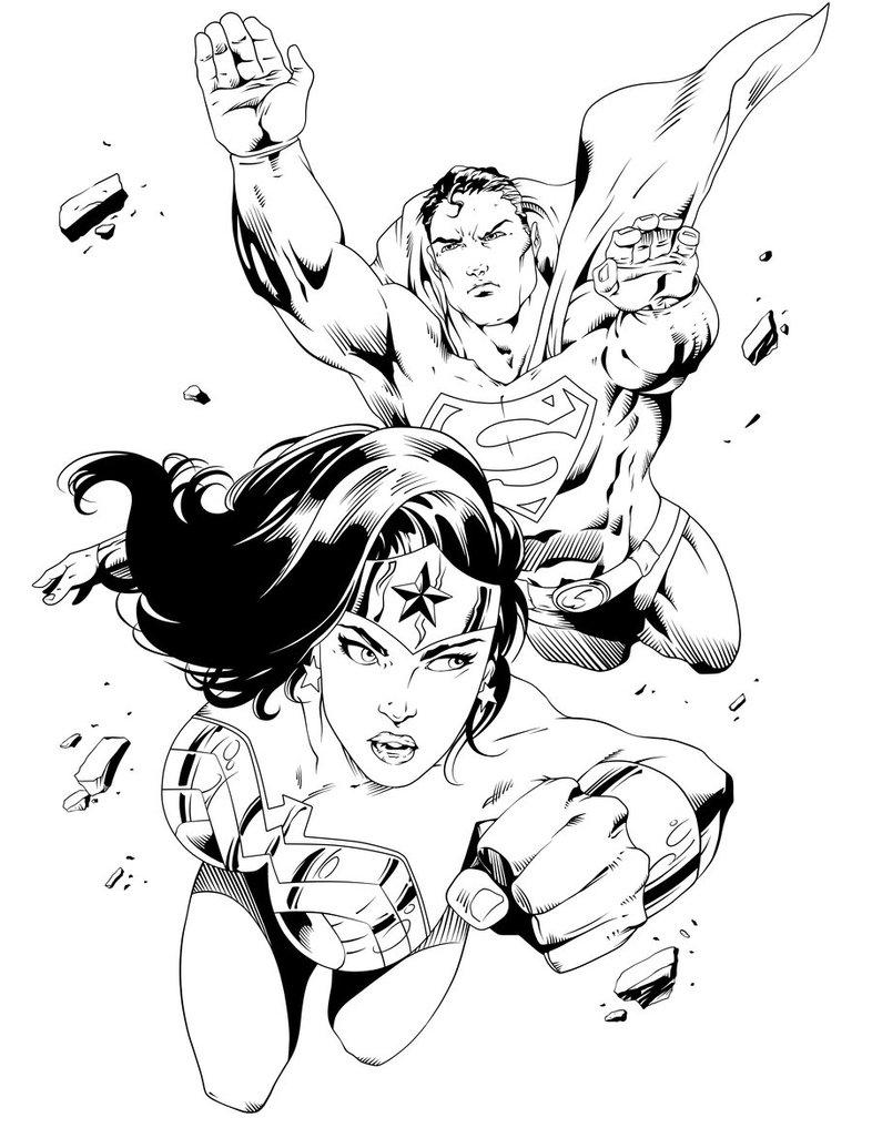 Cool Superman Wonderwoman Superhero Coloring Page