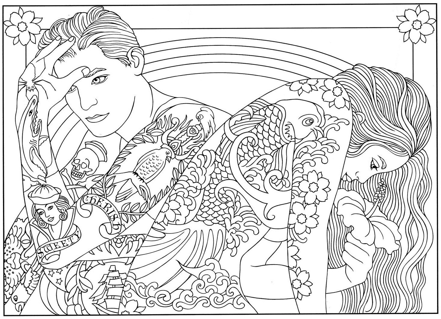 Cool Tattooed Couple Coloring Page
