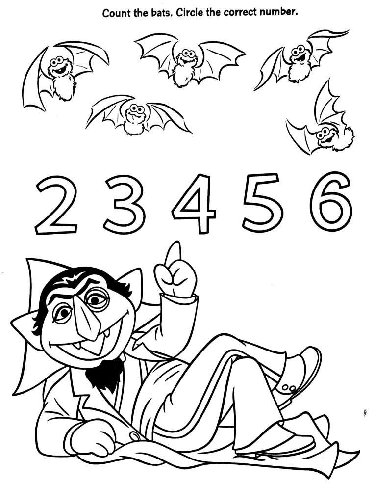 Count the Bats Sesame Street Worksheet