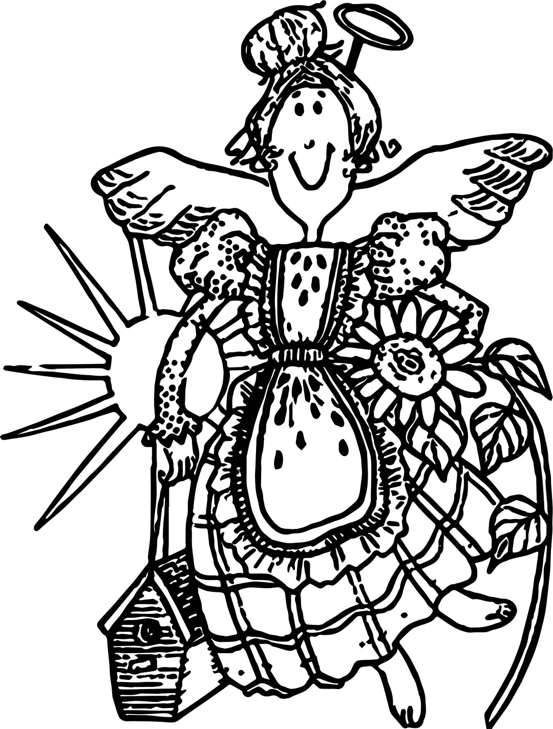 Country Garden Angel Coloring Pages