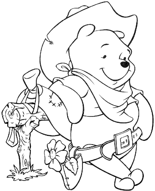 Cowboy Winnie the Pooh Coloring Pages