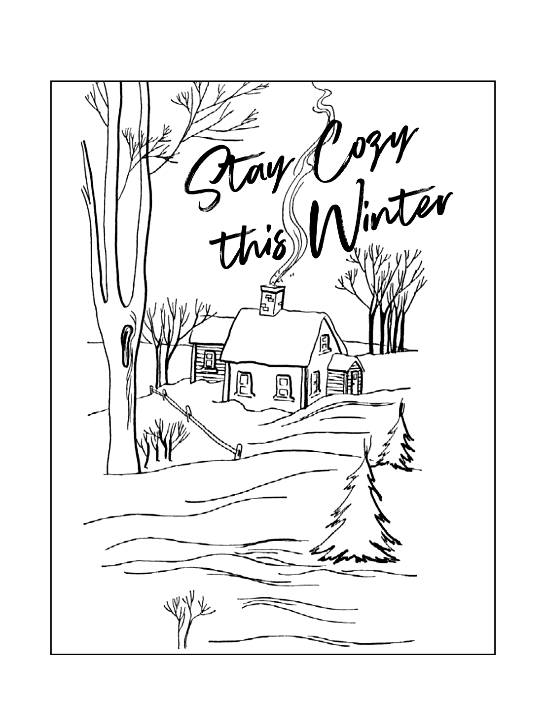 Cozy Winter Coloring Page