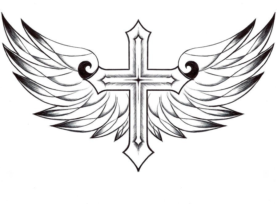 Cross and Angel Wings Drawing to Color