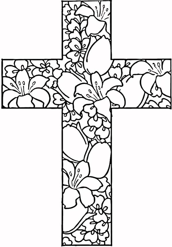 Cross with Flowers Coloring Pages