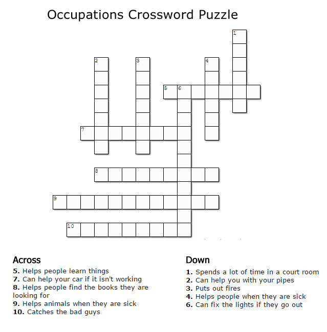Crossword Puzzle about Occupations