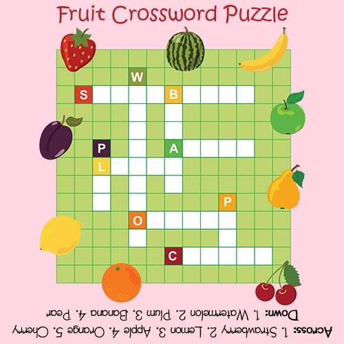 Crossword Puzzles for Kids Fruit