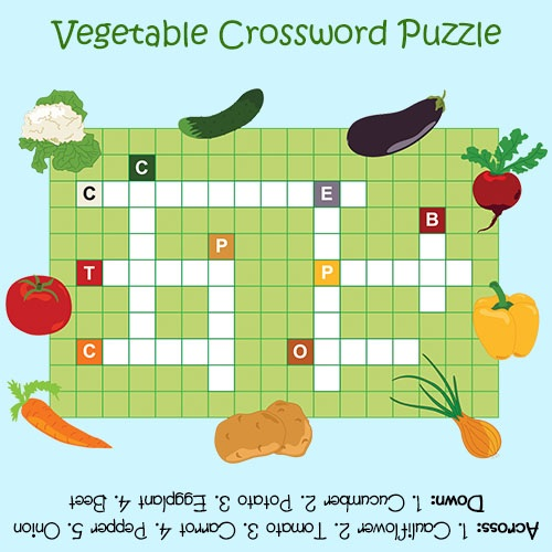 Crossword Puzzles for Kids Vegetables