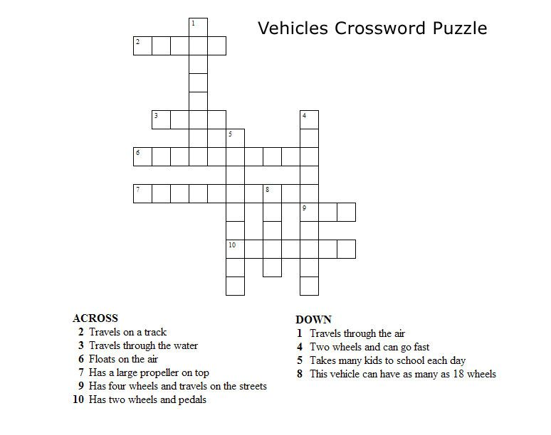 Crossword Puzzles for Kids Vehicles