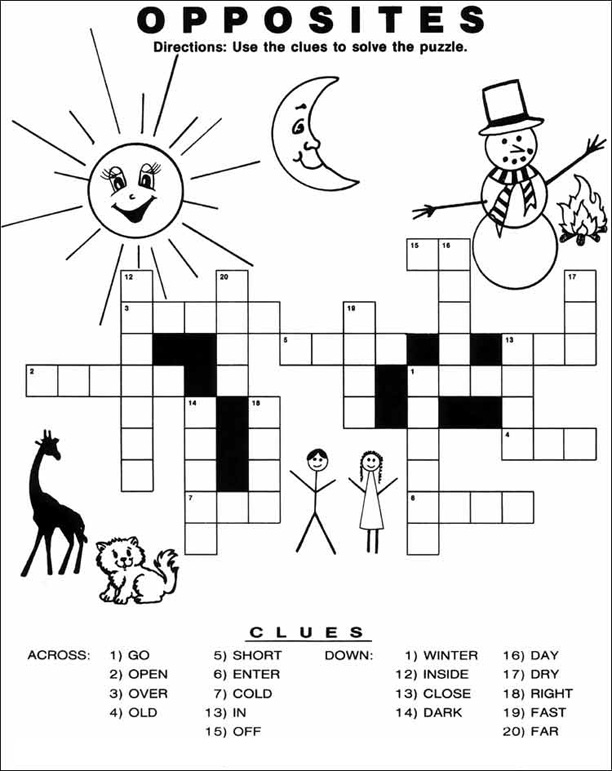 Crossword Puzzles for Kids to Print