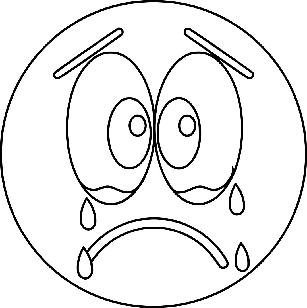 Cry Emoji Coloring Page