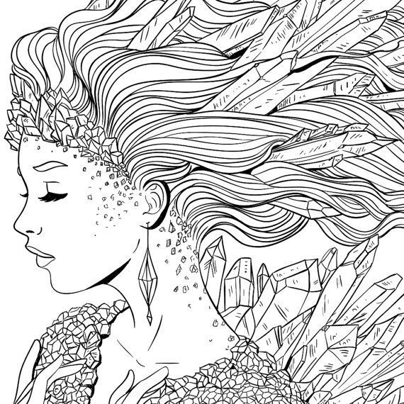 Crystal Fantasy Girl Coloring Page