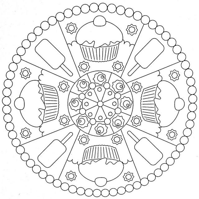 Cupcake Mandala Coloring Fun for Kids