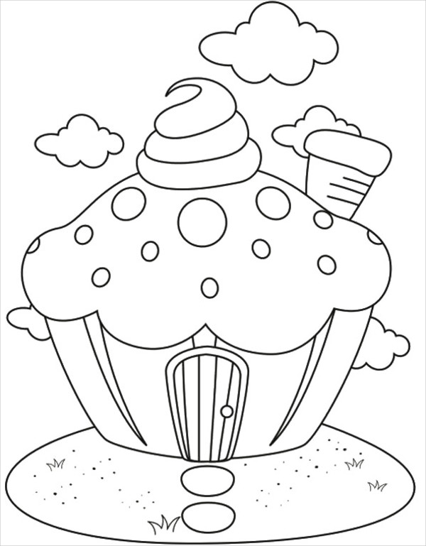 Cupcake House Coloring Page