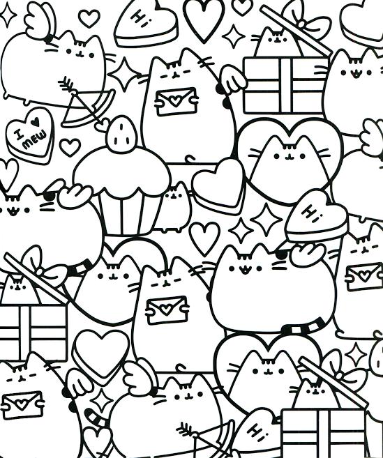 Cupcakes and Kitties Kawaii Coloring Pages