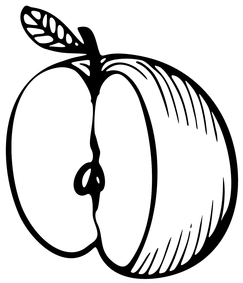 Cut Apple Coloring Page for Kids