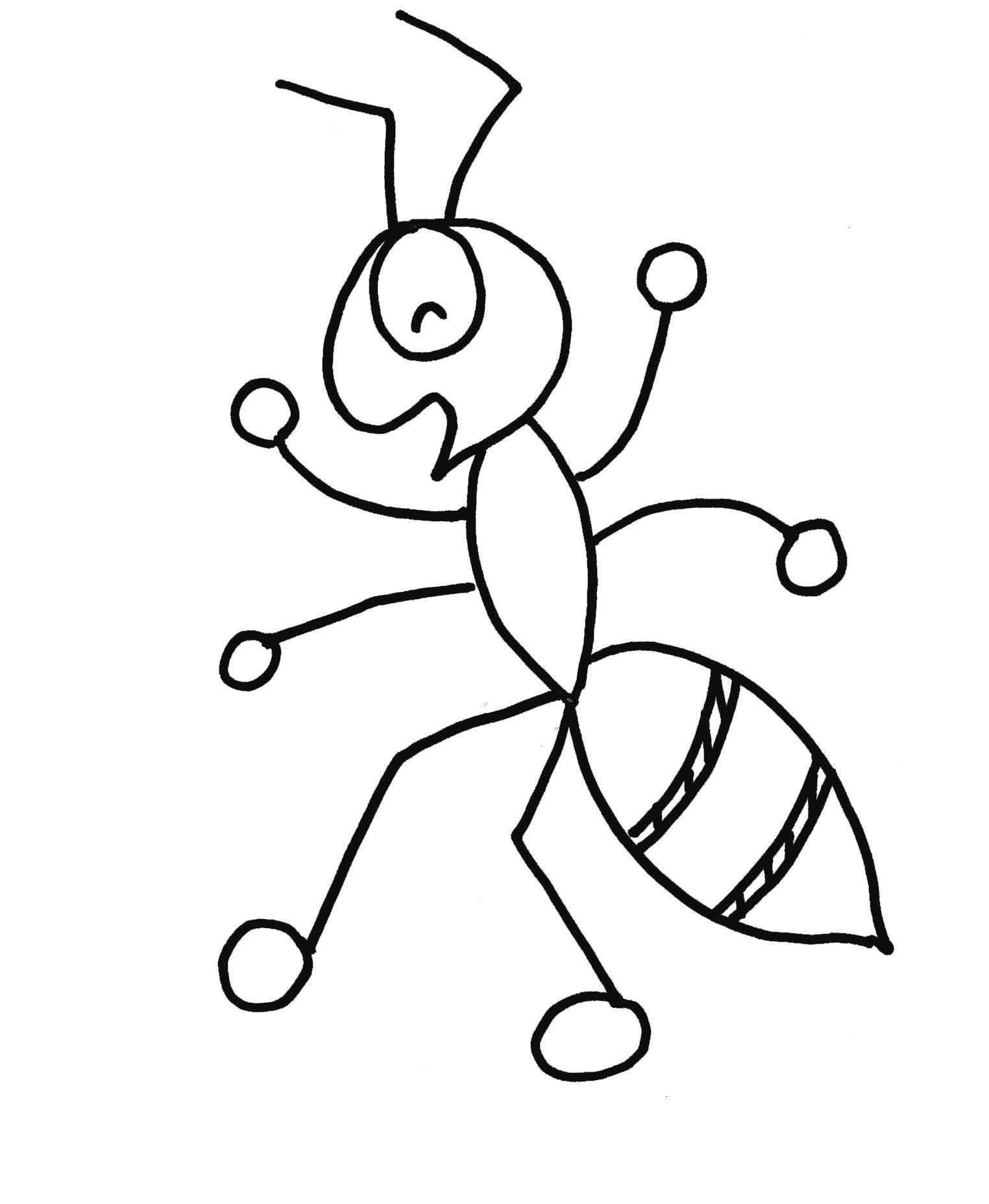 Cute Ant Drawing to Color