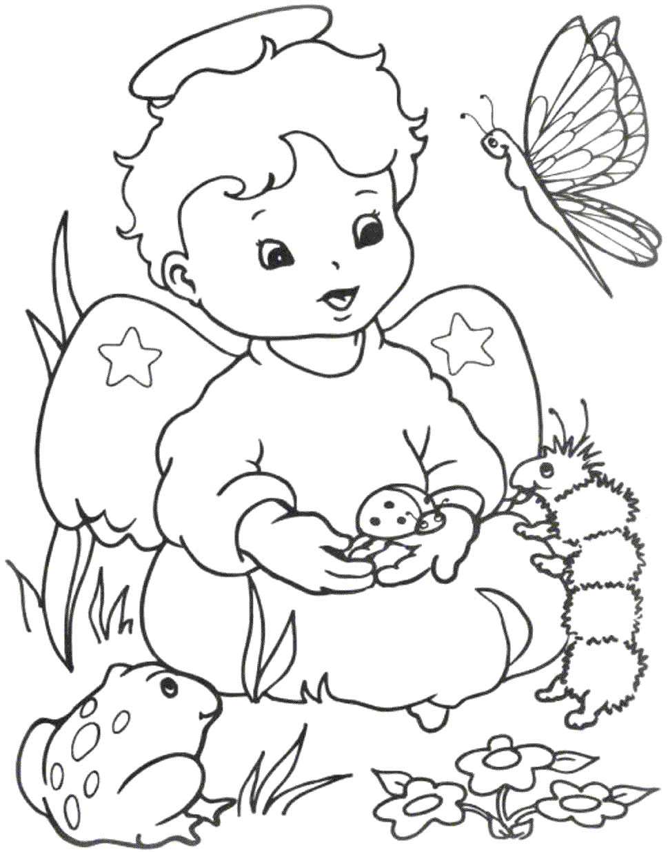 Cute Baby Angel Coloring Page